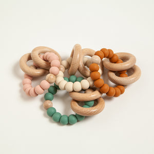 Beech Wood and Silicone Teething Ring