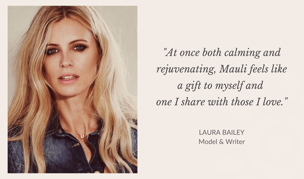 Laura Bailey Model and writer loves Mauli rituals, ayurveda inspired Beauty Brand