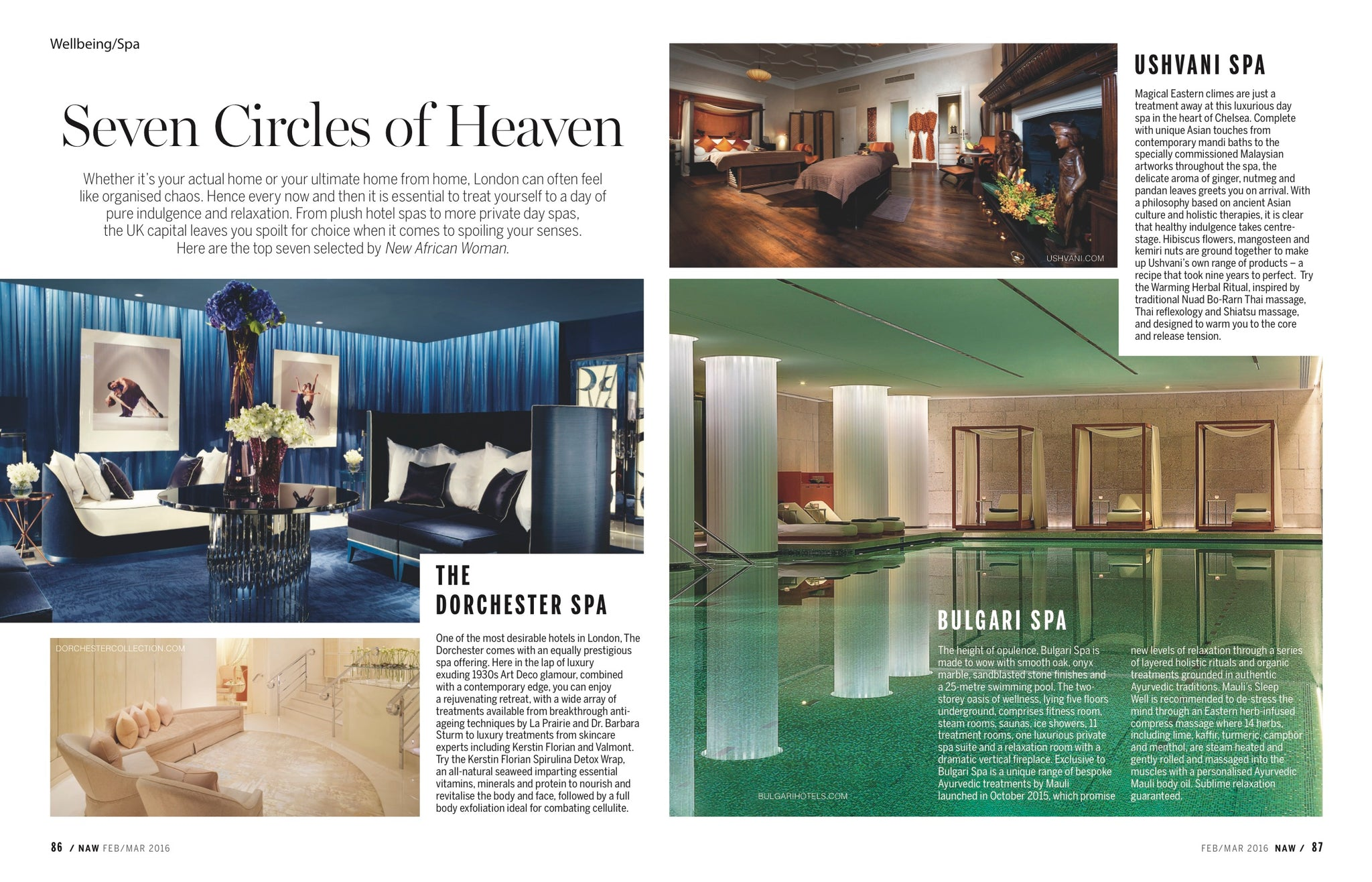 Mauli Rituals Bulgari Spa Treatments in New African Woman Magazine