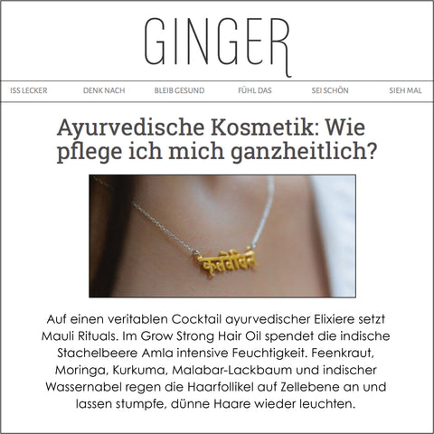 Mauli Grow Strong Hair Oil in Ginger Mag Germany