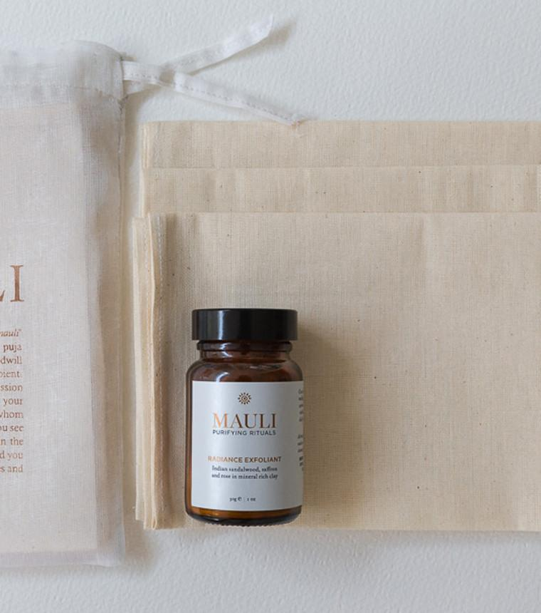 Set of 7 Pure muslin Cloths with radiance exfoliant | Mauli Rituals