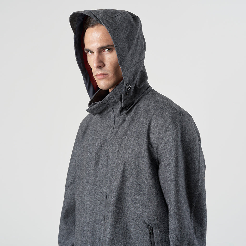 TECH WOOL HOODY FISHTAIL - Grigio - Foto 7