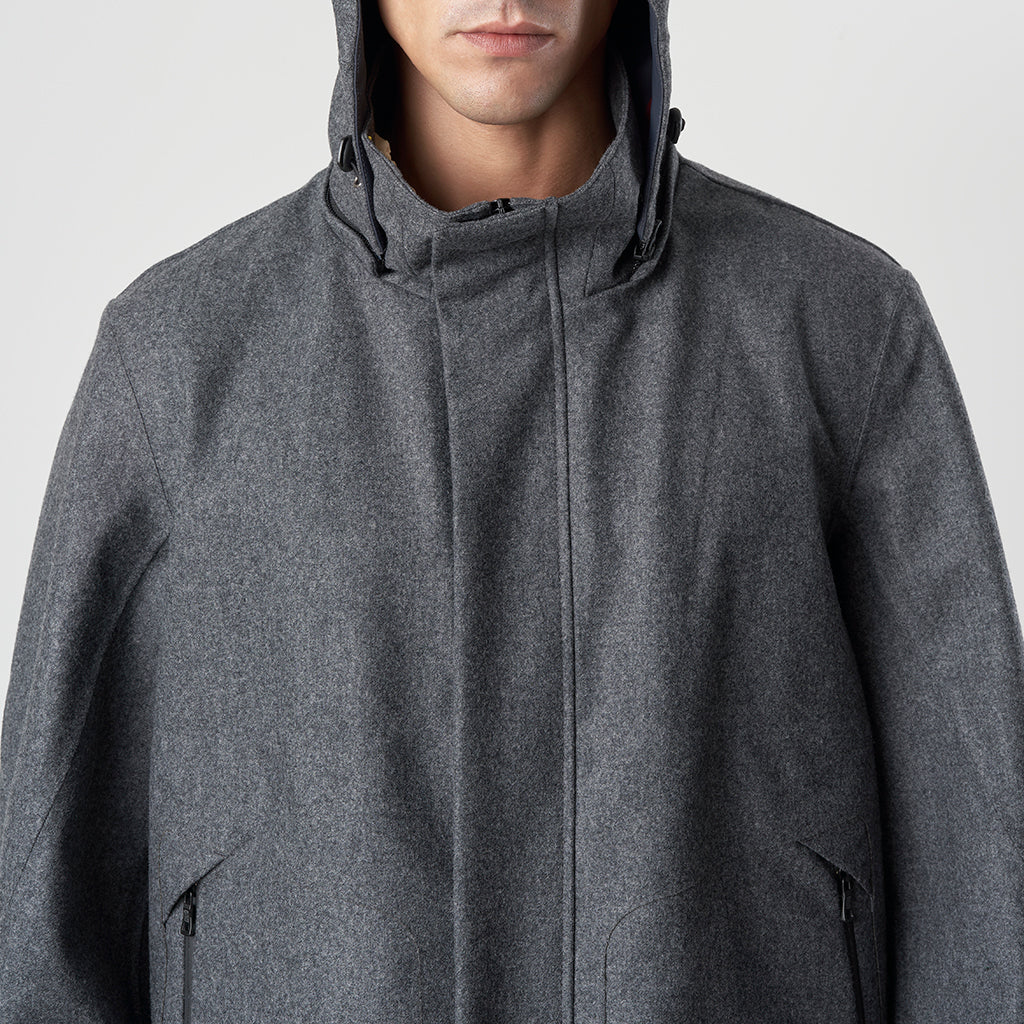 TECH WOOL HOODY FISHTAIL - Grigio - Foto 8