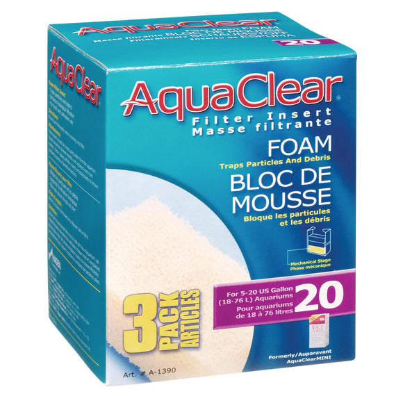 AquaClear 20 (Mini) Foam Filter Insert | 3/PK