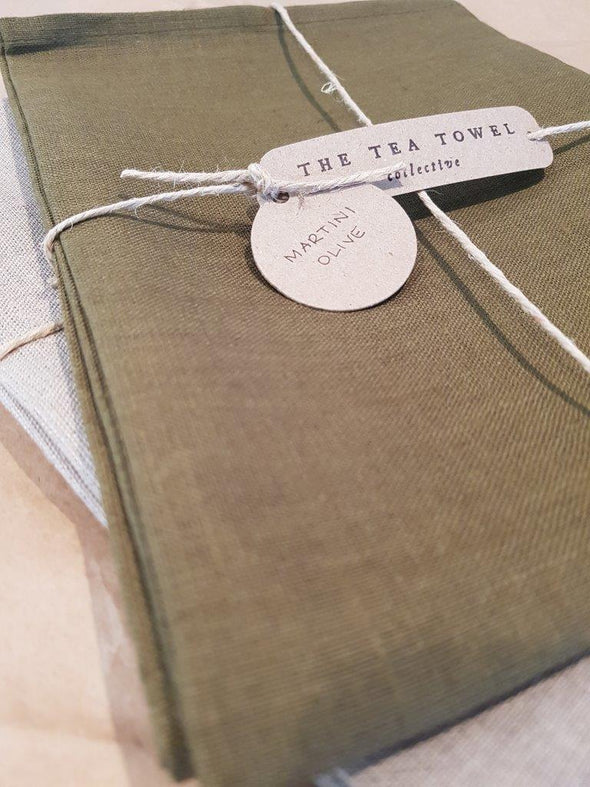 The Tea Towel Collective - Martini Olive Linen Tea Towel - Raw Cottage