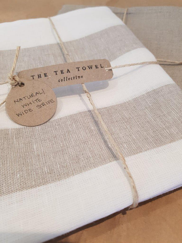 The Tea Towel Collective - Natural/White Wide Striped Linen Tea Towel - Raw Cottage