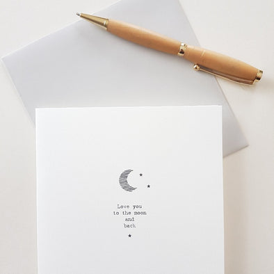 Love you to the moon and back Greeting Card with matching envelope - East of India