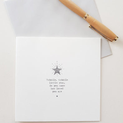 Twinkle, twinkle little star, do you know how loved you are greeting card with envelope