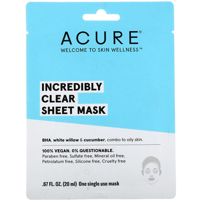 Acure - Incredibly Clear Sheet Mask - 20ml - Raw Cottage