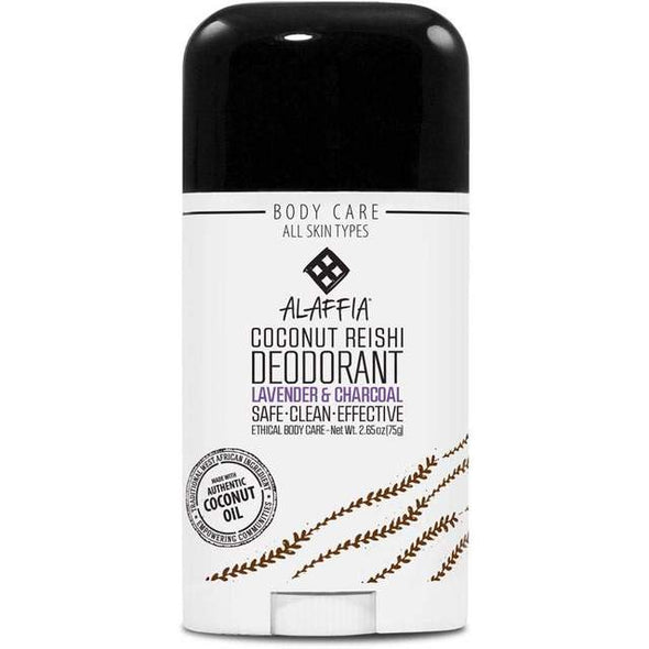 Alaffia Deodorant – Coconut Reishi lavender & Charcoal – 75g roll on