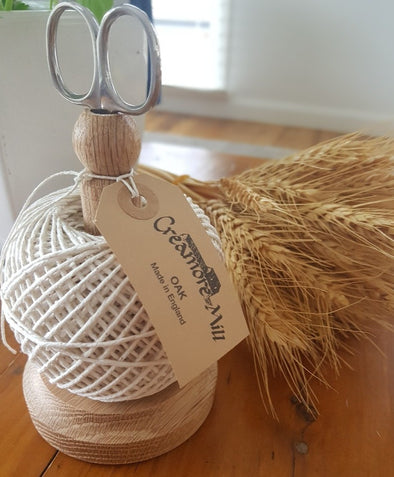 Creamore Mill Oak String Tidy set with Scissors and String included
