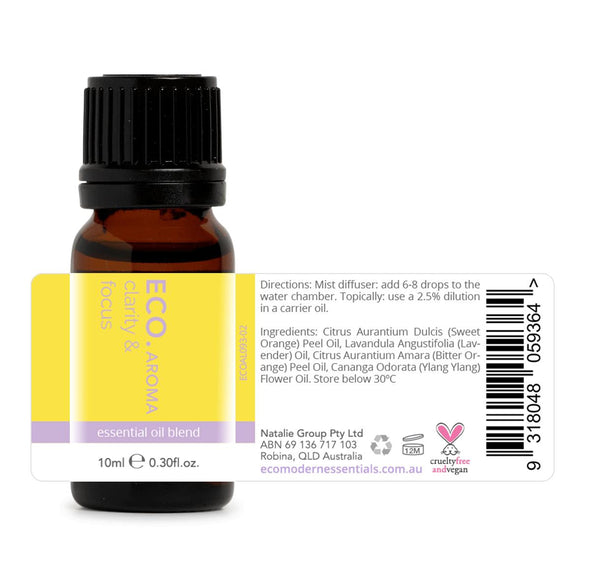 ECO Aroma - Clarity & Focus Oil Blend - 10ml - Raw Cottage