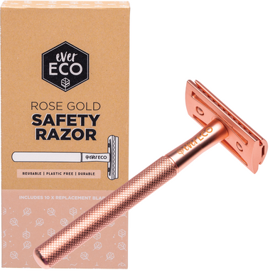 Ever Eco Safety Razor – Rose Gold – includes 10 replacement blades