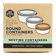 Ever Eco - Round Nesting Containers - Pastels 3 Piece Set - Raw Cottage