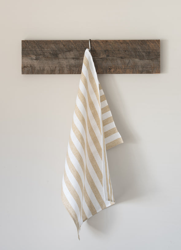 The Tea Towel Collective - Honey/White Striped Linen Tea Towel - Raw Cottage