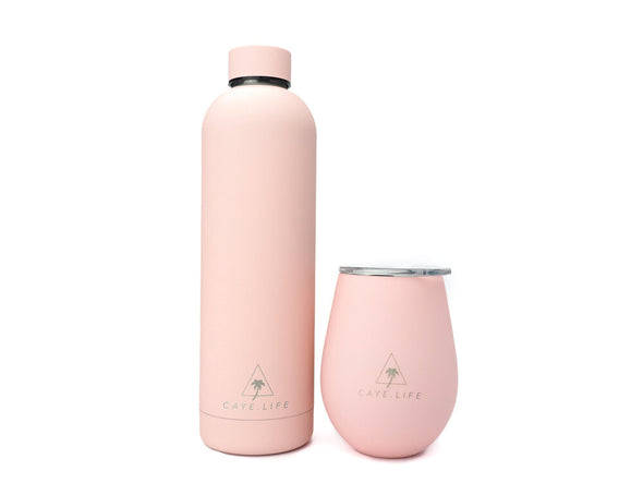 Caye Life - Floripa Gift Pack Flamingo Pink - 1 x 360ml Thermo Cup and 1 x 750ml Water Bottle - Raw Cottage