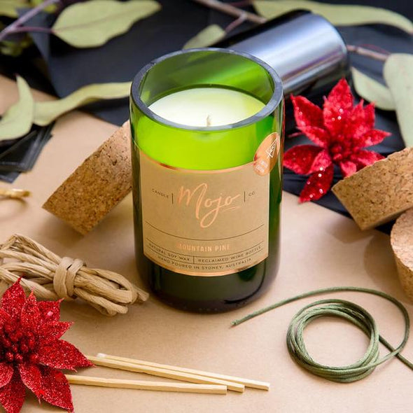 Mojo - Reclaimed Wine Bottle Candle Soy Wax - Mountain Pine - Special Edition - Raw Cottage