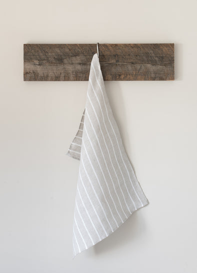 The Tea Towel Collective - Natural/White Thin Striped Linen Tea Towel - Raw Cottage