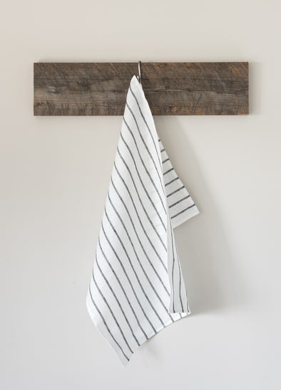 The Tea Towel Collective - Off White/Black Thin Striped Linen Tea Towel - Raw Cottage