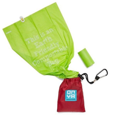 Onya Compostable Dog Waste Disposal Bags and Carry Pouch Set – Chilli Red