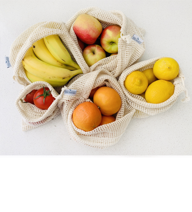 True Harvest - Organic Cotton Mesh Produce Bag Set (5 assorted sizes) - Raw Cottage
