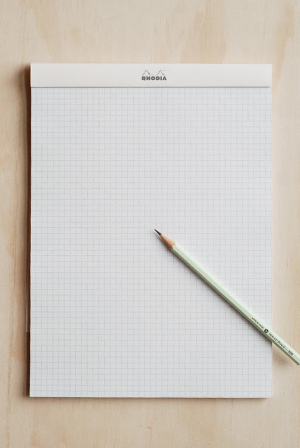 Rhodia - Pad #18 - Top Stapled - 5mm x 5mm Grid/Graph - A4 - White