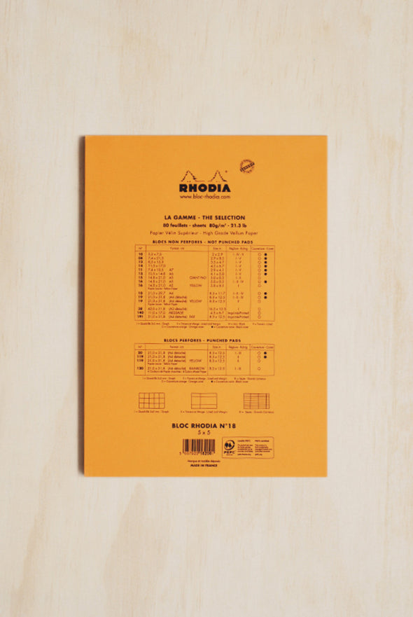 Rhodia - Pad #18 - Top Stapled - 5X5 Grid - A4 - Orange - Raw Cottage