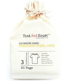 That Red House - Marine Grade Stainless Steel Pegs - 20 Pegs - Raw Cottage