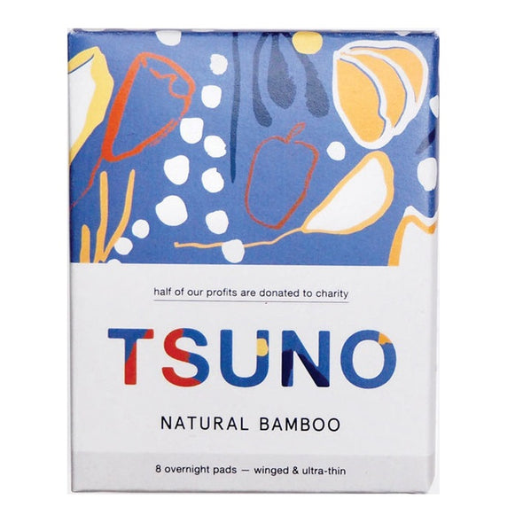 Tsuno Natural Bamboo Pads – Overnight – Ultra Thin With Wings – 8 Pack - Raw Cottage