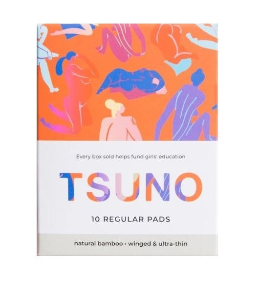 Tsuno Natural Bamboo Pads – Regular – Ultra Thin With Wings – 10 Pack - Raw Cottage