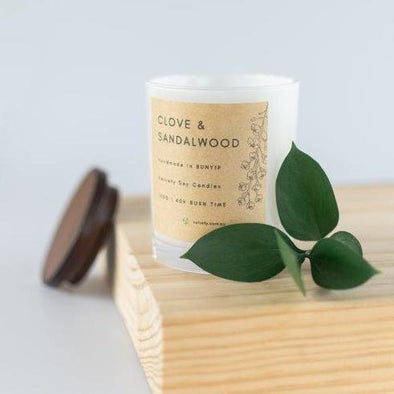 Velvety Clove & Sandalwood - Eco Soy Candle 160g - Raw Cottage
