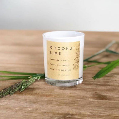 Velvety Coconut Lime - Eco Soy Candle 160g - Raw Cottage