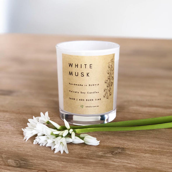 Velvety White Musk - Eco Soy Candle 160g - Raw Cottage