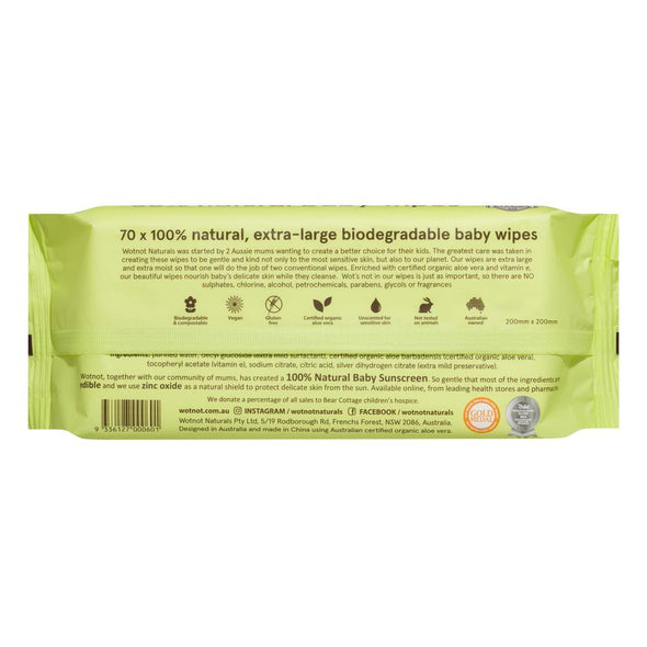 Wotnot Biodegradable Alcohol-Free Extra-Large Baby Wipes – 70 pack - Raw Cottage