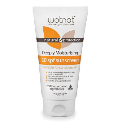 Wotnot Naturals – Deeply Moisturising Sensitive Skin Sunscreen SPF 30 - 150g - Raw Cottage