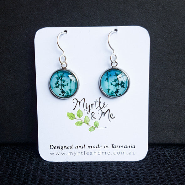 Myrtle & Me – Spring Blossom - Blue Drop Earrings - Raw Cottage