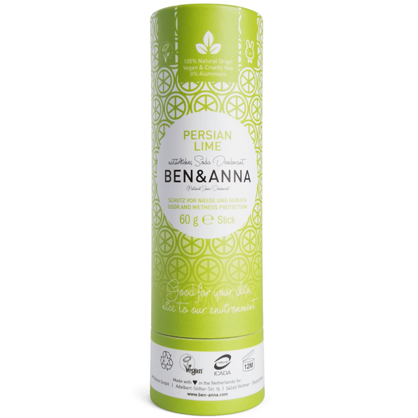 Ben & Anna - Natural Soda Deodorant Stick - Persian Lime 60g - Raw Cottage