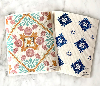 True Harvest - Bio Sponge Cloth - 2 pack - Positano Tile - Raw Cottage