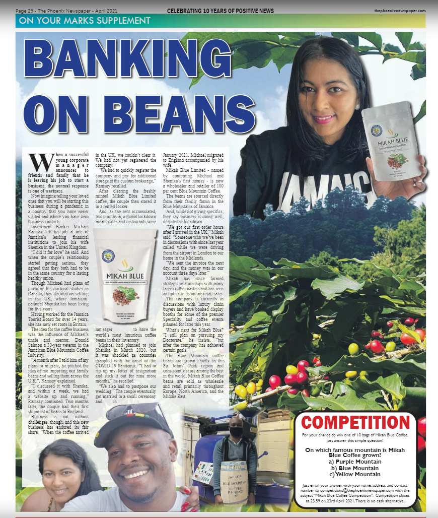 Mikah Blue feature in The Phoenix Newspaper, Banking on Beans