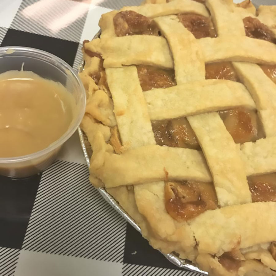 Apple pie with lattice top and cream cheese caramel sauce by Koch's General Store