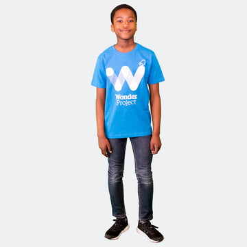 Wonder Project blue kids tee shirt front