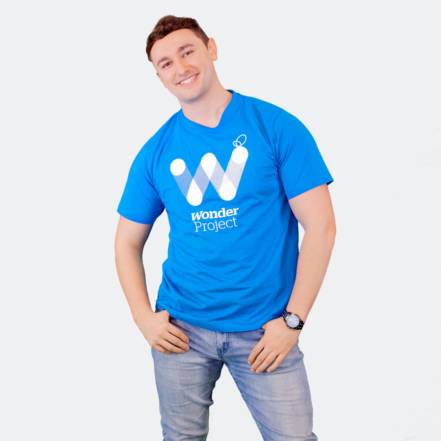 Wonder Project mens blue tee shirt front