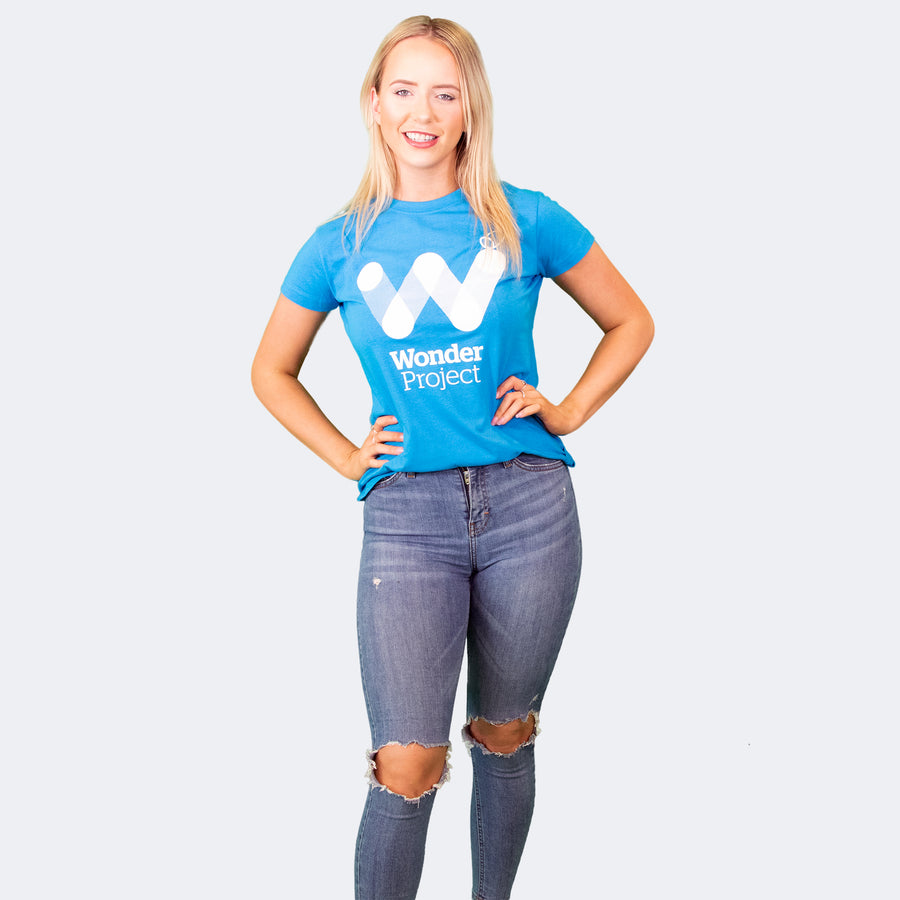 Wonder Project blue womens tee shirt front