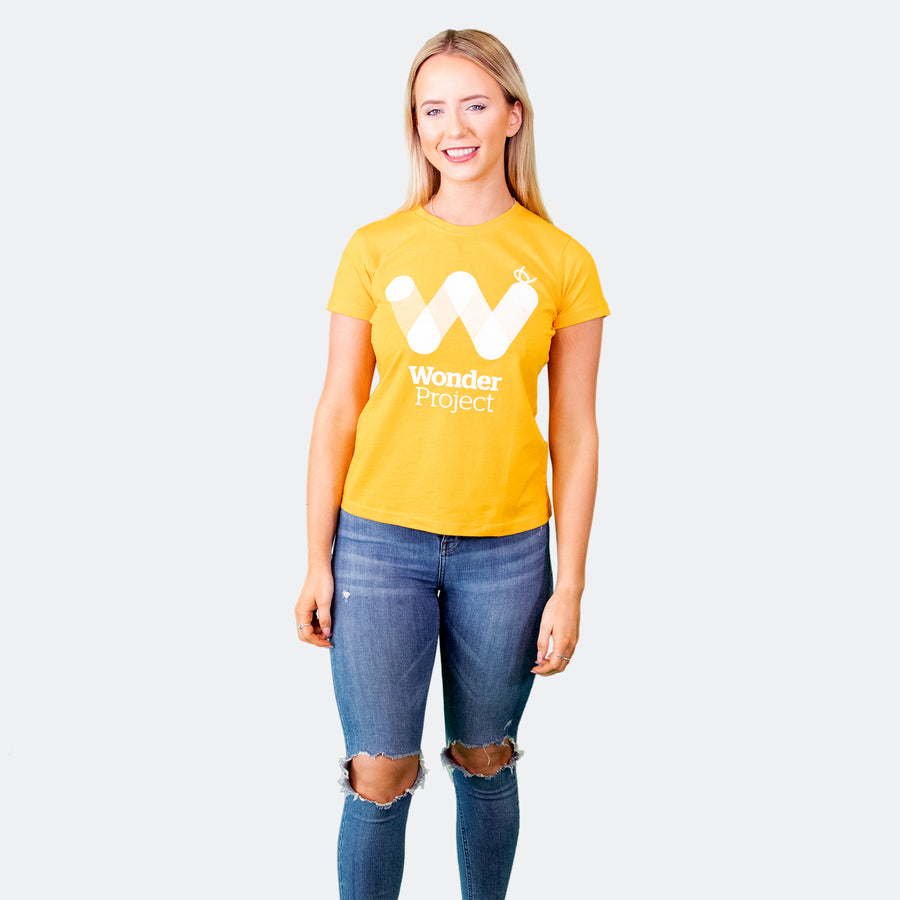Wonder Project yellow womens tee shirt front