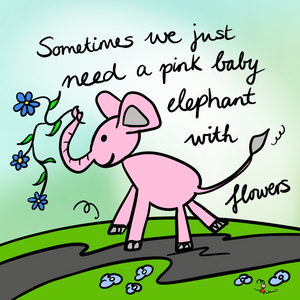 'Pink Elephant' Greeting Cards - Pack of 5