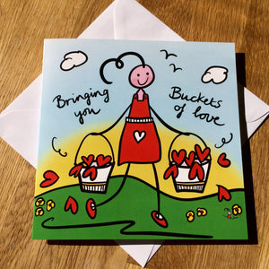 'Buckets of Love' Greeting Cards - Pack of 5
