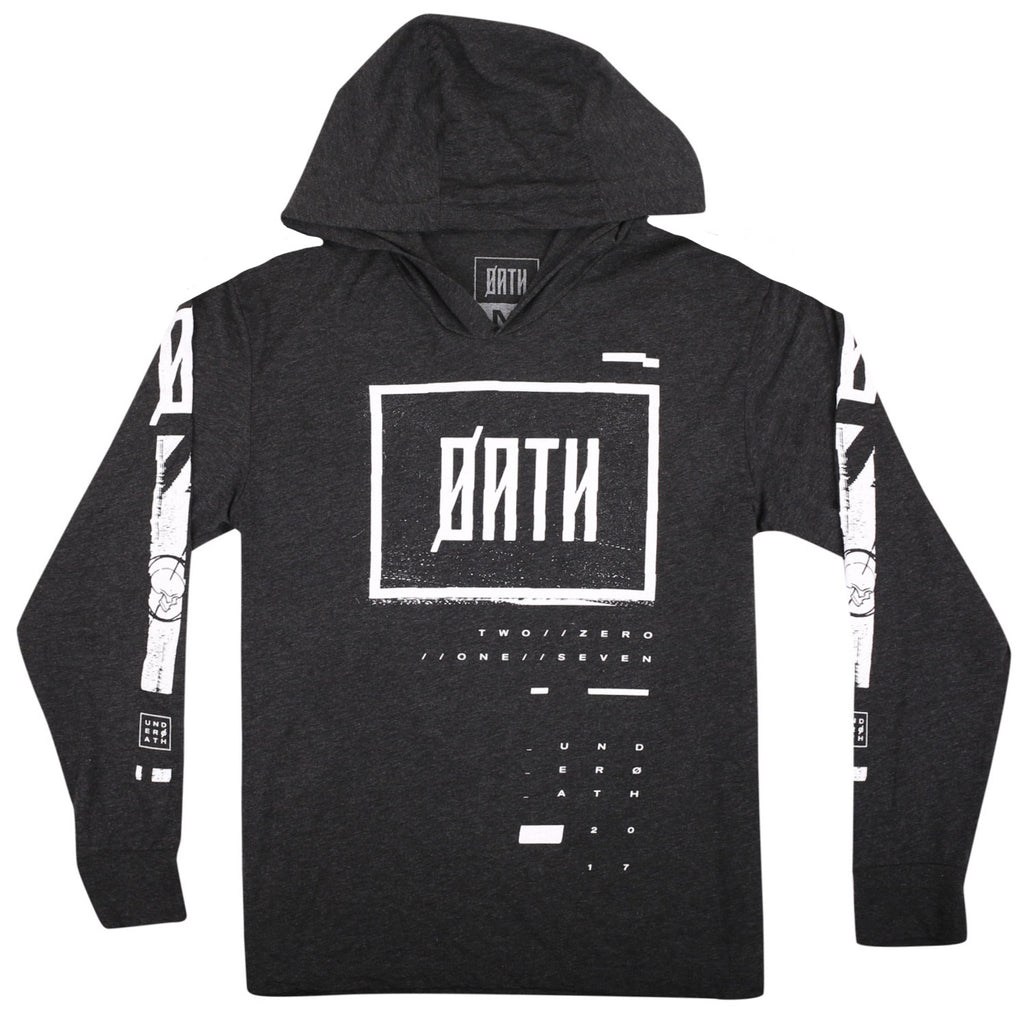 GLITCH PULL OVER LONG SLEEVE HOODIE // VINTAGE BLACK