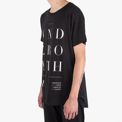 'Chapters' Cut-n-Sew Droptail T-Shirt - Black