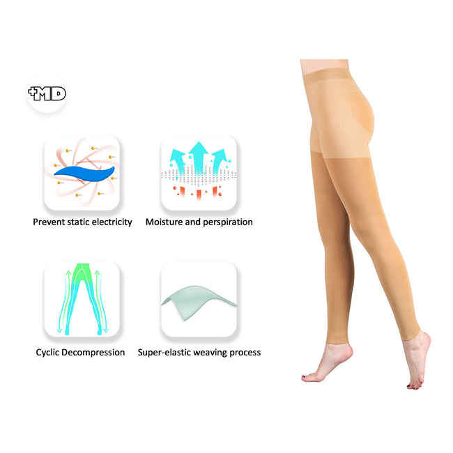 Women's 15-20mmHg Warm Open Toe Compression Pantyhose For Winter