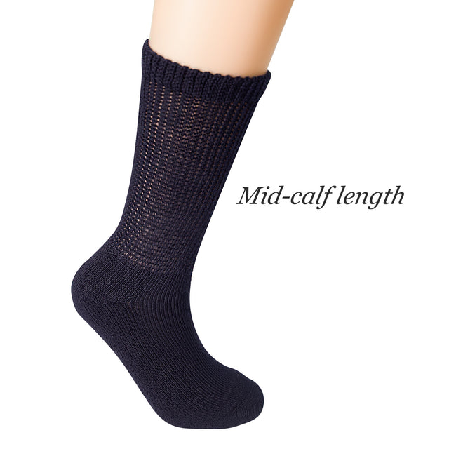 +MD Polyester Half Cusioned Diabetes Crew Socks Loose Fit